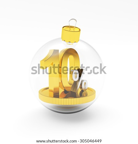 Discount concept. Glass Christmas ball with golden 10 percent inside isolated on white background