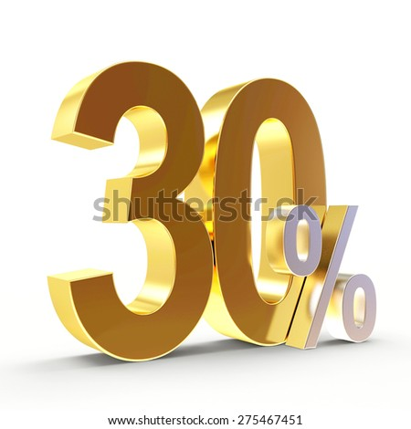 Discount concept. Golden 30 percent isolated on white background