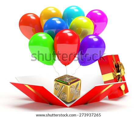 Discount concept. Golden percentage cube with colorful balloons in gift box isolated on white background