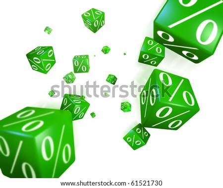 Discount cubes falling down on the white background