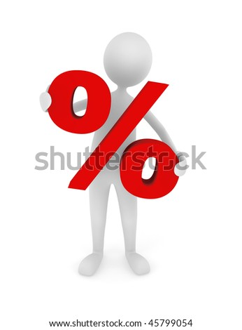 Discount. Discount concept depicting man holding red percentage symbol; great for business, economy, sales. - stock photo