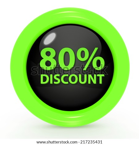 Discount eighty percent circular icon on white background