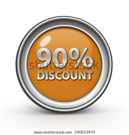 Discount ninety percent circular icon on white background