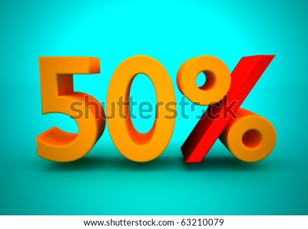Discount of 50  percent for a green background
