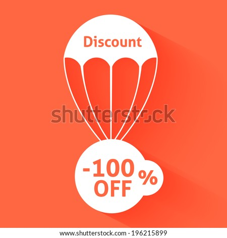 Discount parachute with text of the size of the discount. Raster version - stock photo