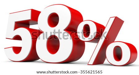 Discount 58 percent off. 3D illustration.