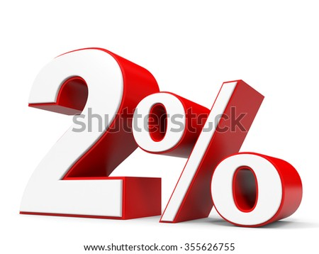 Discount 2 percent off. 3D illustration.