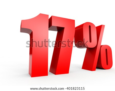 Discount 17 percent off. 3D illustration on white background. - stock photo