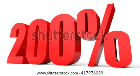 Discount 200 percent off. 3D illustration on white background. - stock photo