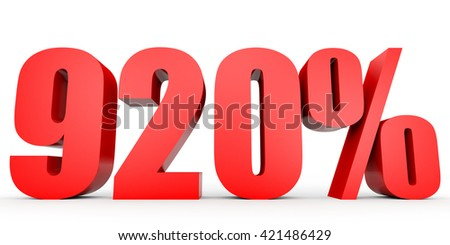 Discount 920 percent off. 3D illustration on white background.