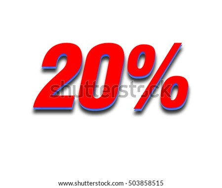 Discount 20 percent off. Red  3D illustration on white background.