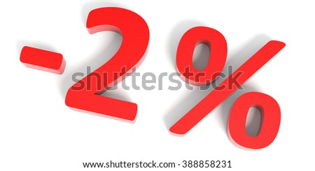 Discount 2 percent off sale. 3D illustration.