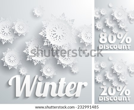 Discount percent with snowflake on white winter. Raster version - stock photo