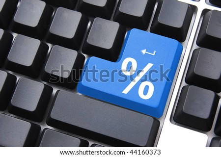 discount percentage key for internet computer  store - stock photo