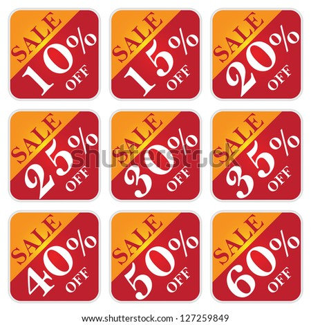 Discount Price Tag For Every Shopping Season, Sale 10 - 60 Percent Off Isolated on White Background - stock photo