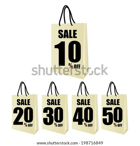Discount Price With Sale 50 - 90 Percent Text On Shopping Bag. - stock photo