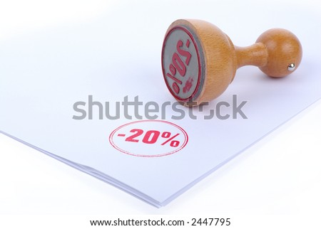 Discount 20 % Rubber stamp - stock photo
