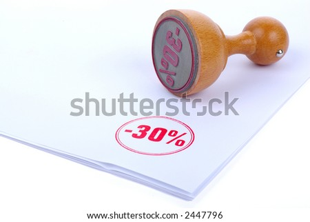 Discount 30 % Rubber stamp - stock photo
