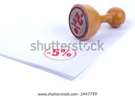 Discount 5 % Rubber stamp - stock photo