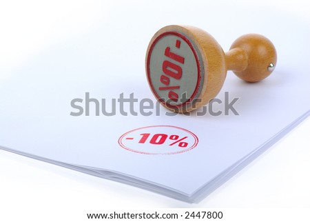 Discount 10 % Rubber stamp - stock photo