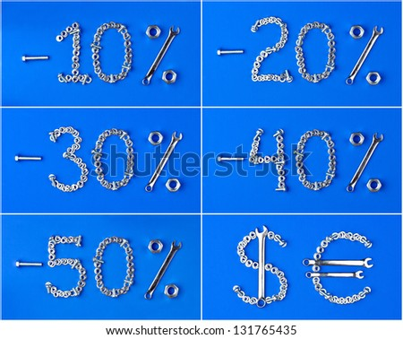 discount set of nuts and bolts on a blue background - stock photo