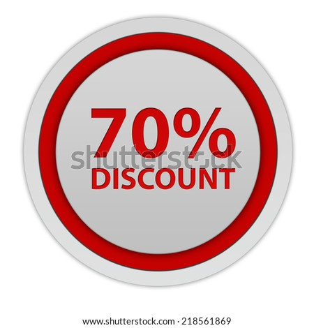 Discount seventy percent circular icon on white background