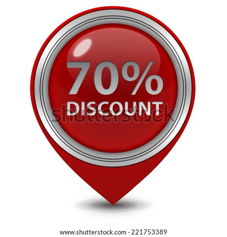 Discount seventy percent pointer icon on white background
