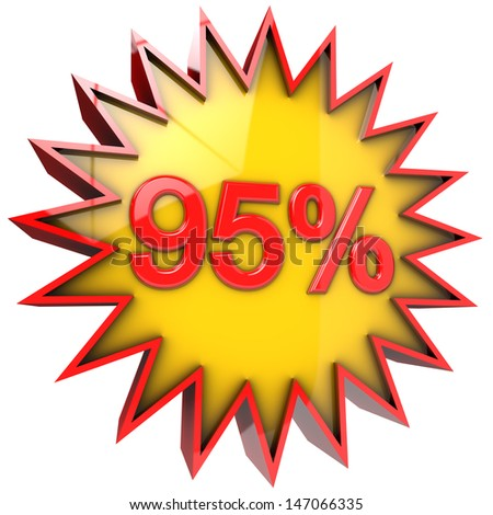 discount star with ninety five percent in 3d isolated with clipping path and alpha channel