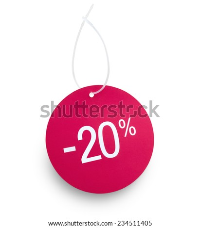 Discount tag. 20% off against white background. Clipping path on tag and hanger tape - stock photo