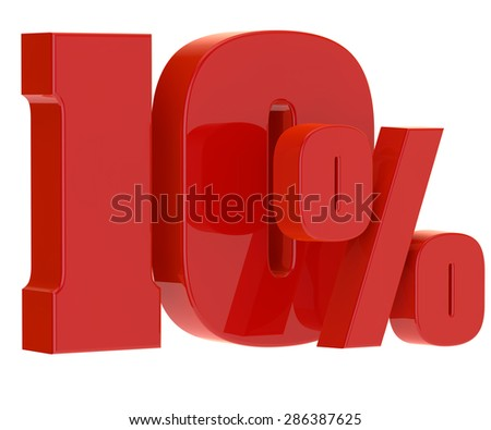discount ten percent on a white background - stock photo