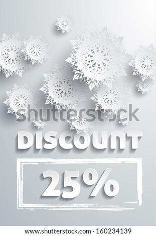 Discount text with numbers and snowflakes. Additional format - stock photo