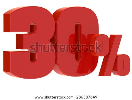 discount thirty percent on a white background - stock photo
