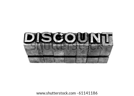 DISCOUNT written in metallic letters on a white background - stock photo