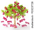 Discounts are falling from the tree, big sale, 3d render - stock vector