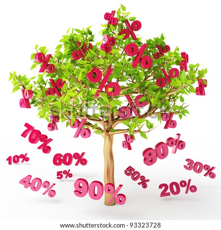 Discounts are falling from the tree, big sale, 3d render - stock photo