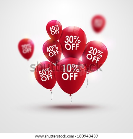 Discounts balloons with numbers - stock photo