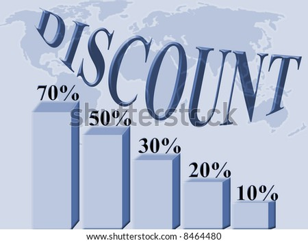 Discounts percentages graphic on a blue background