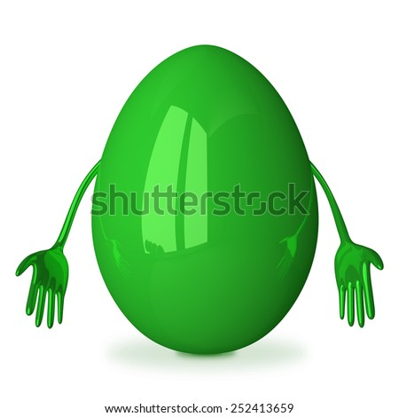 Discouraged green glossy egg character isolated - stock photo
