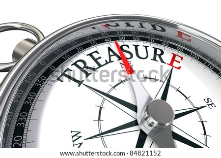 discover the treasure conceptual image with compass and word treasure