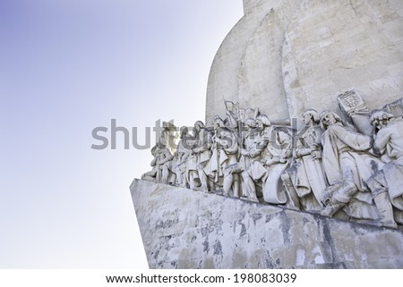 Discoverers Monument Lisbon, detail of a historical monument in Portugal - stock photo