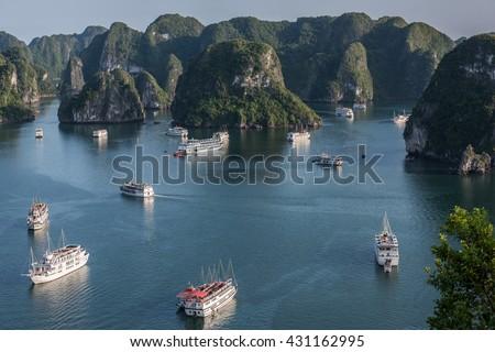 Discovering Ha Long Bay - stock photo