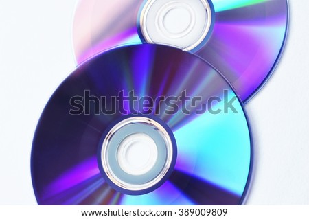 Discs with music and movies. DVD or CD - stock photo