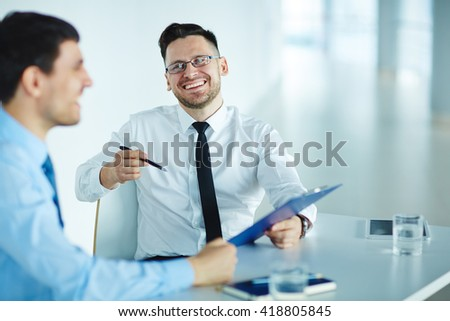 Discussing plan of work - stock photo
