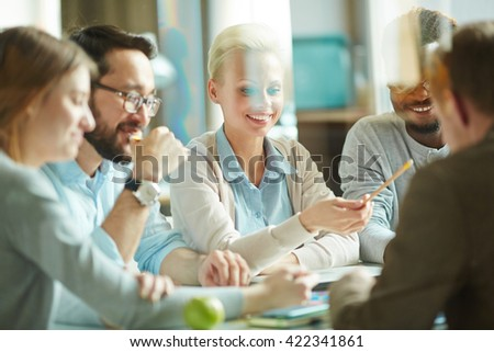 Discussion of colleagues - stock photo
