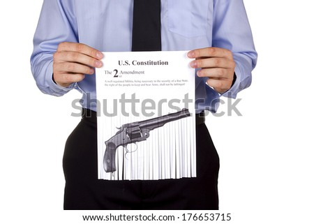 Discussion on the Limitation of firearms in the United States. - stock photo