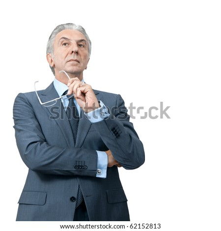 Disdainful boss crossing arms. - stock photo