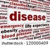 Disease medical warning message background. Medical dysfunction poster design - stock photo