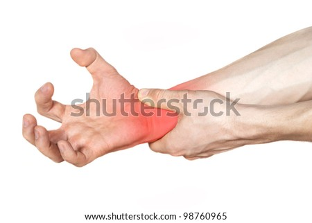 disease of the hands in red - stock photo