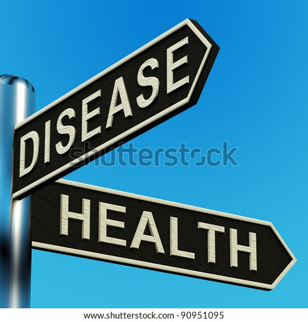 Disease Or Health Directions On A Metal Signpost Show Illness And Medical Sickness. Road Sign Means Deciding Healthcare Drugs And Which Doctor.
