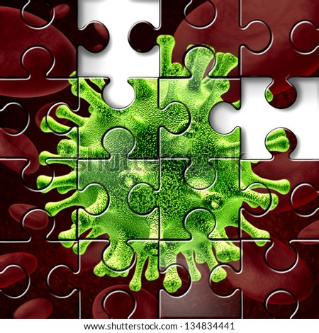 Disease research as a three dimensional medical illustration of a virus and bacterium over blood cells shaped as a jigsaw puzzle with missing pieces as a concept of scientific search for a cure. - stock photo
